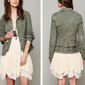 Free People Military Ruffle Twill Laced Jacket
